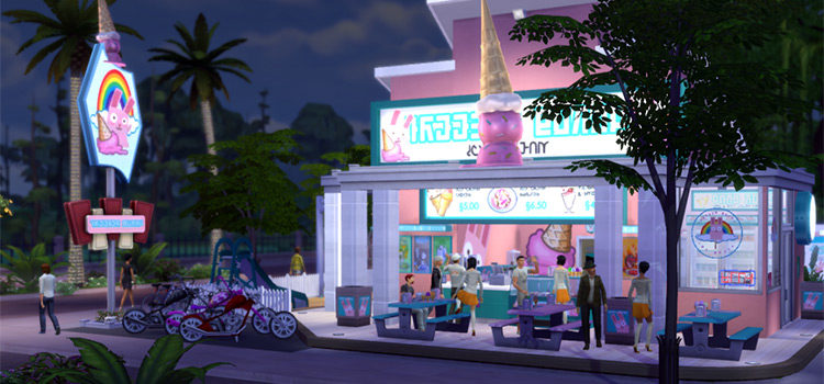 Sims 4 Ice Cream Shop Lots, CC & Mods