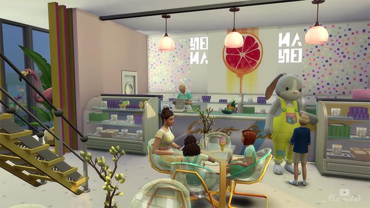 Sims 4 CC Ice Cream Café Lot