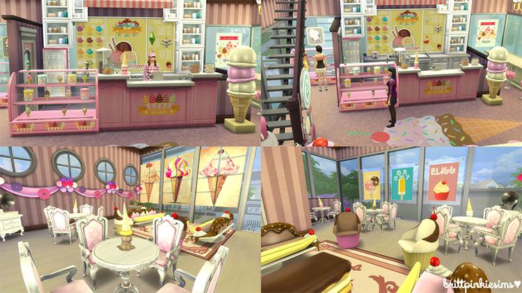 Sims 4 Ice Cream Parlor Lot + CC Set