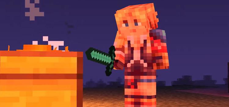 FFX Tidus standing near Fire in Minecraft