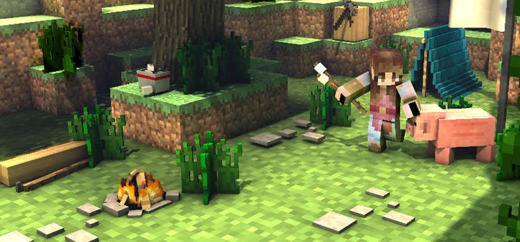 Brunette Elf Skin with pig in Minecraft