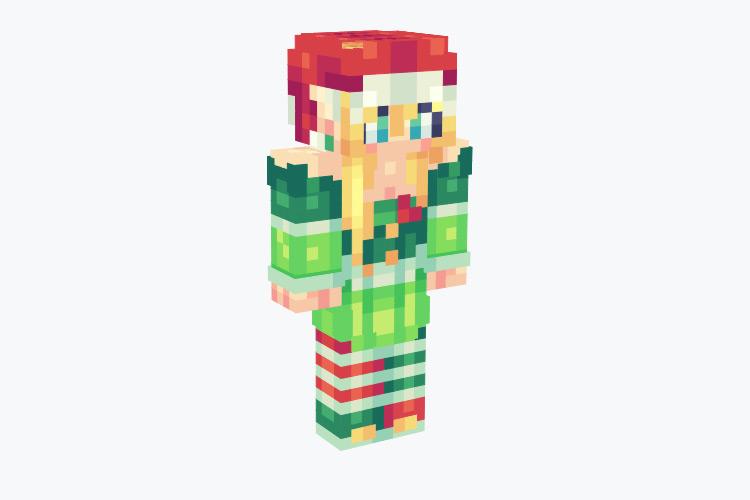 Blonde Female Elf with Santa Hat / Minecraft Skin