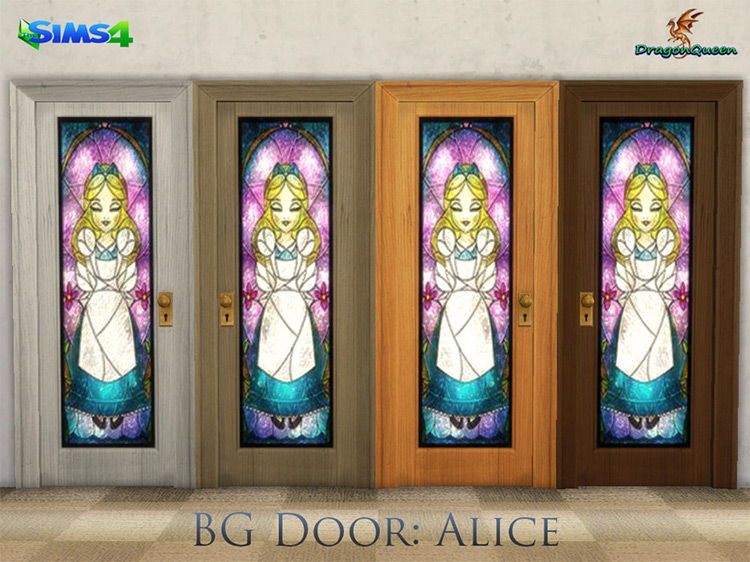 Alice in Wonderland Stained Glass Door / Sims 4 CC