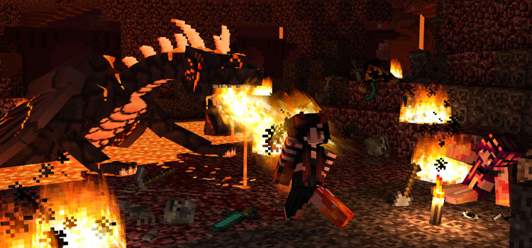 Flame Dragon Battle in Minecraft