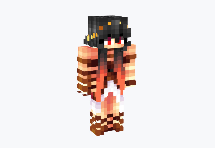 Red and Black Ashes Girl / Minecraft Skin