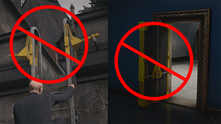 No Yellow Braces on Shortcut Ladders and Doors Mod for Hitman 3
