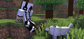 Cool White Checkered Hoodie Guy with Dog (Minecraft Preview)