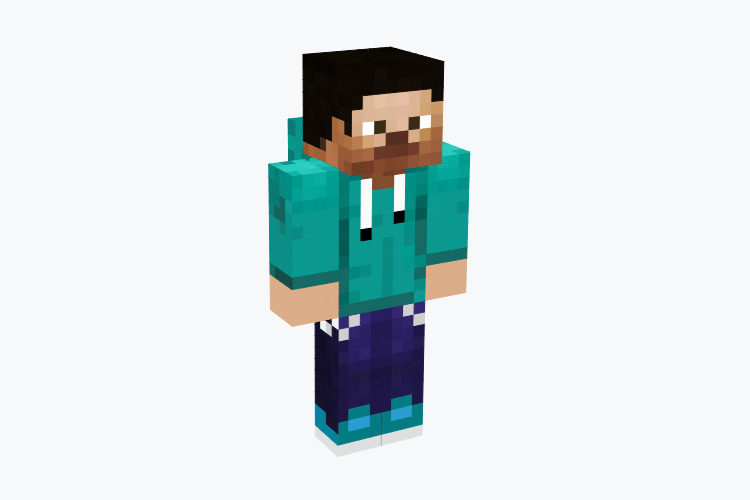 Steve with a Green Hoodie / Minecraft Skin