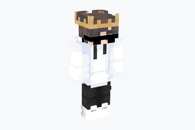 Boy with Sunglasses, Crown & White Hoodie / Minecraft Skin