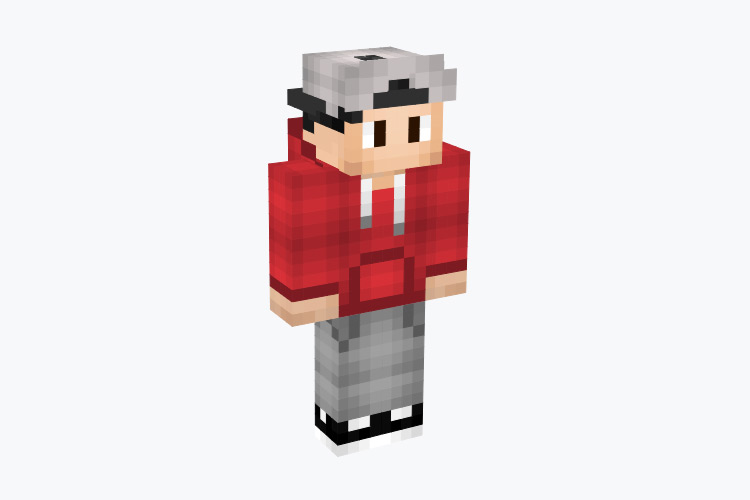 Red Hoodie Guy with Backwards Hat / Minecraft Skin