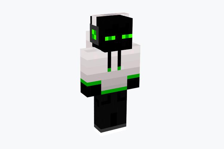Enderman in White Creeper Hoodie / Minecraft Skin