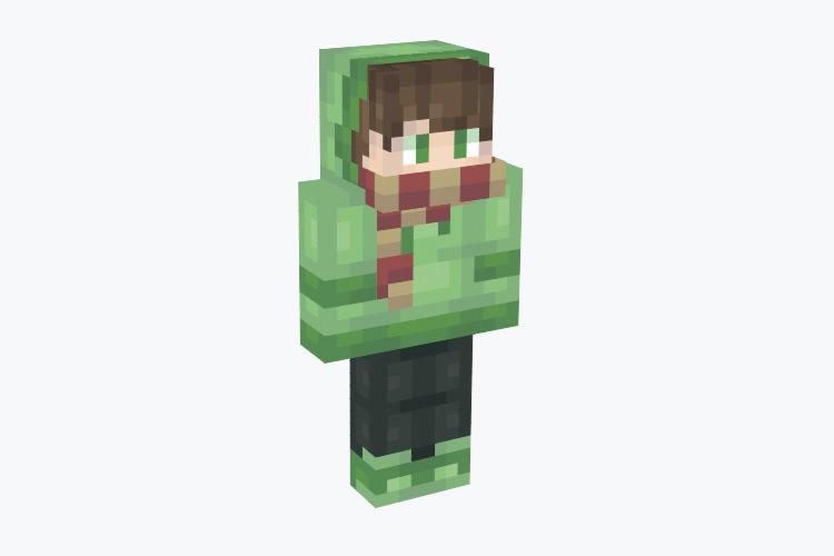 Green Winter Slime Hoodie Boy / Minecraft Skin