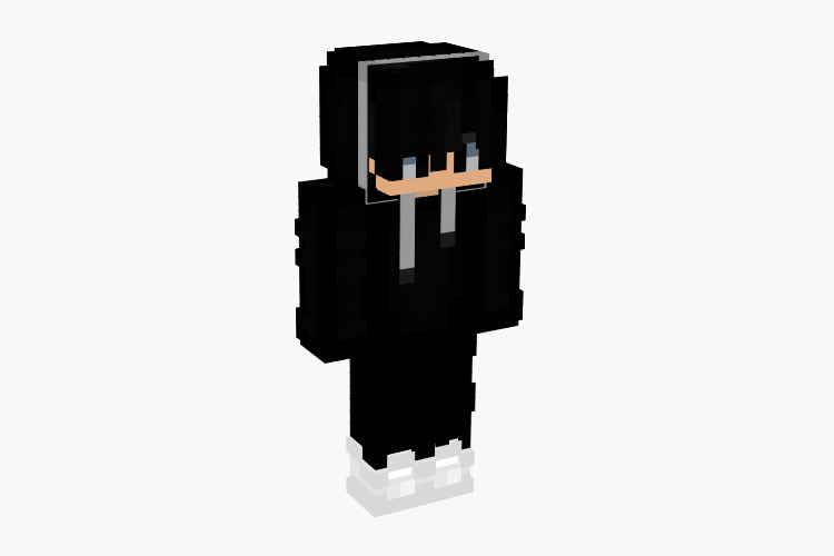 All Black Hair & Hoodie Boy / Minecraft Skin