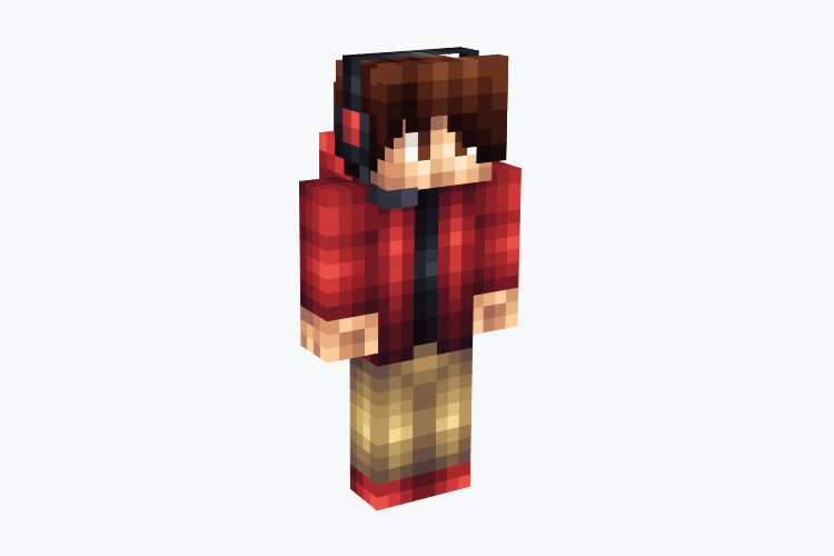 Guy in Red Hoodie with Creeper Design / Minecraft Skin