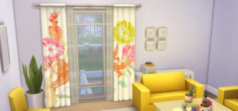 Bright colorful curtains CC in The Sims 4