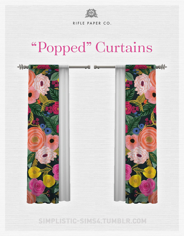 """""""Popped"""" Curtains / TS4 CC"""