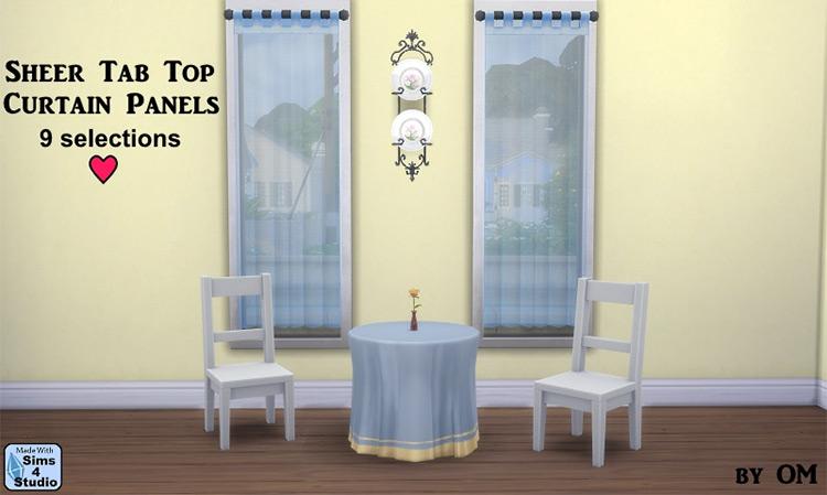 Sheer Tab Top Curtain / Sims 4 CC