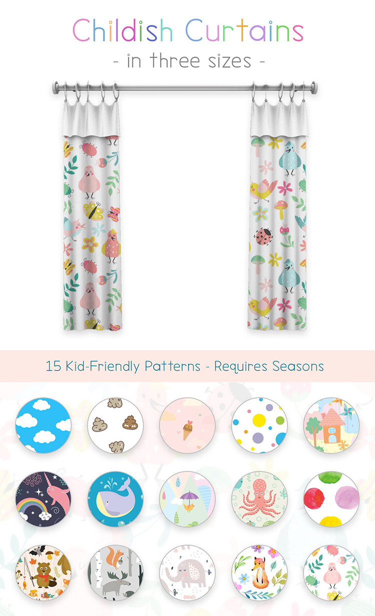 Childish Curtains / Sims 4 CC