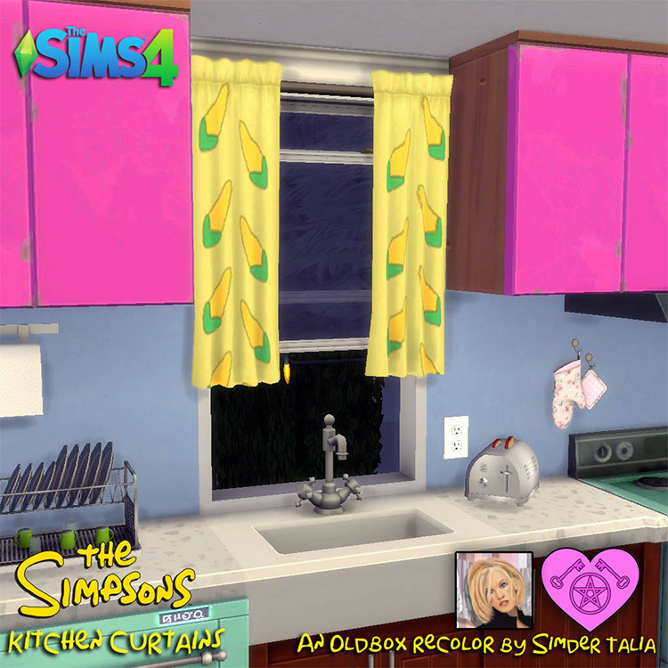 The Simpsons Cartoon Kitchen Curtains for The Sims 4
