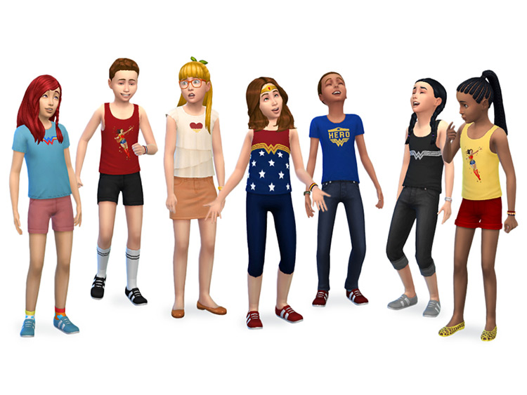 Wonder Woman Kids Set / Sims 4 CC