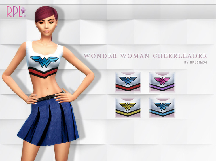 Wonder Woman Cheerleader Outfit / Sims 4 CC