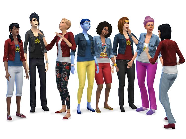Wonder Woman Fan Outfits Set / Sims 4 CC