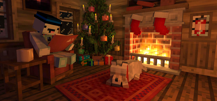 Snowman skin reading by the fireplace (Minecraft Preview)