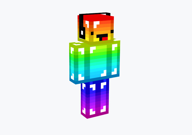 Full Rainbow Character with Derp Face / Minecraft Skin