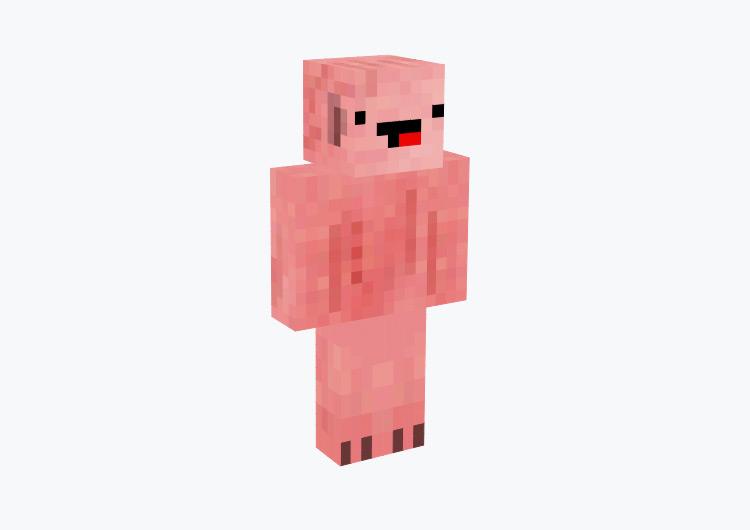 Pink Pig with Derp Face / Minecraft Skin