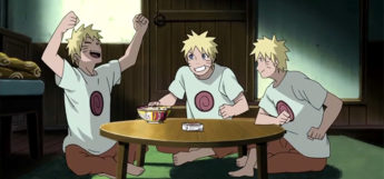 Naruto Eating with his shadow clones