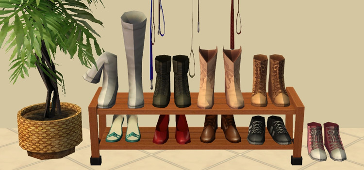 Recolored Shoe Rack CC (The Sims 4)