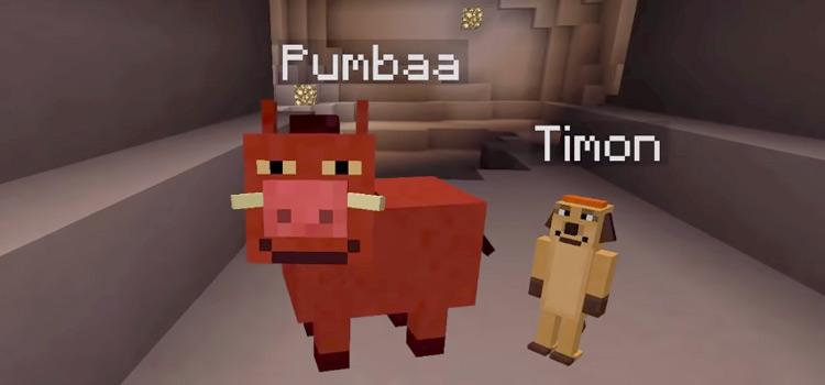 Pumbaa and Timon in Minecraft (Lion King Screenshot)