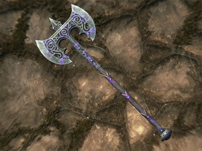 Steel Battleaxe of Fiery Souls Skyrim