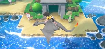 Pokemon Go - flying on a black shiny Charizard