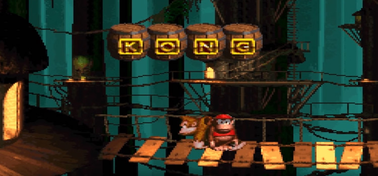 DKC gameplay - bonus room KONG letters