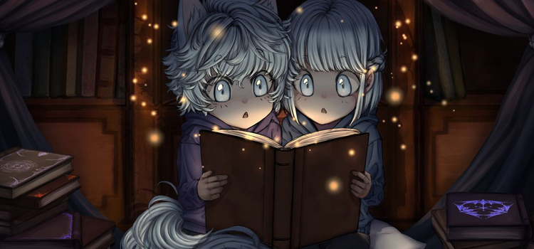 Little girls reading a magical book