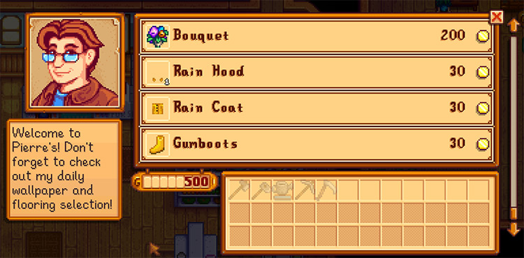 Rainy Day Clothing Stardew Valley mod screenshot