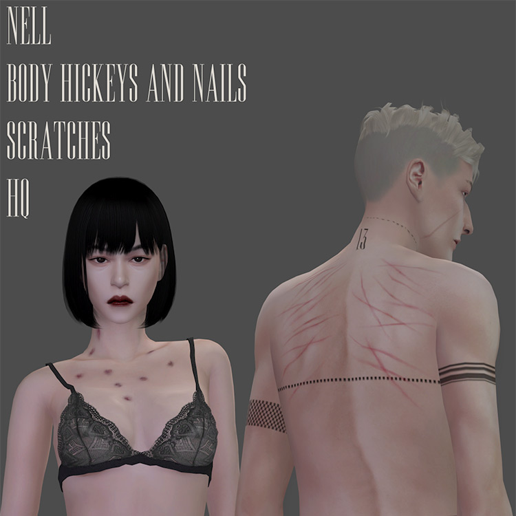 Body Hickeys and Nail Scratches Sims 4 CC