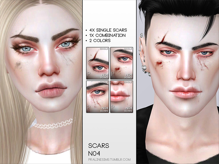 Face Scars N04 for Sims 4