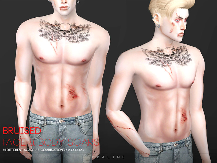 Bruised Face + Body Scars for Sims 4