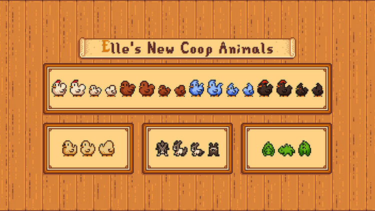 Elle's New Coop Animals Stardew Valley mod