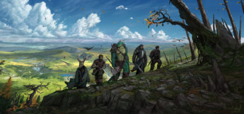 Adventuring Party winding path digital painting
