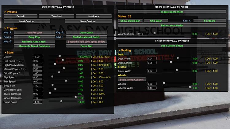 Stats Menu Skater XL mod screenshot