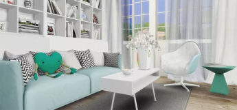 Fur blanket comfy lounge chair CC - TS4 screenshot