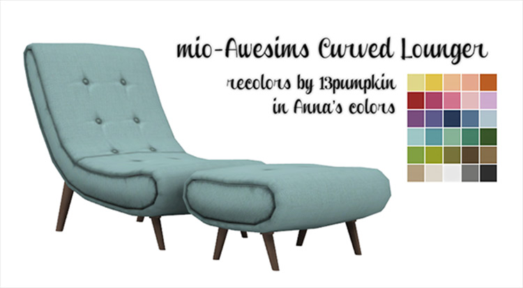 Awesims Curved Lounger CC for Sims 4