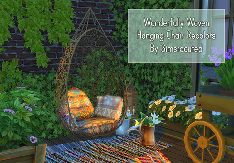 Wonderfully Woven Hanging Chair CC for Sims 4