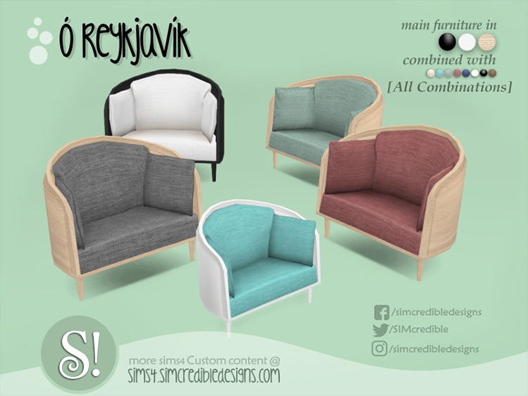 Oh Reykjavik large arm chair Sims 4 CC