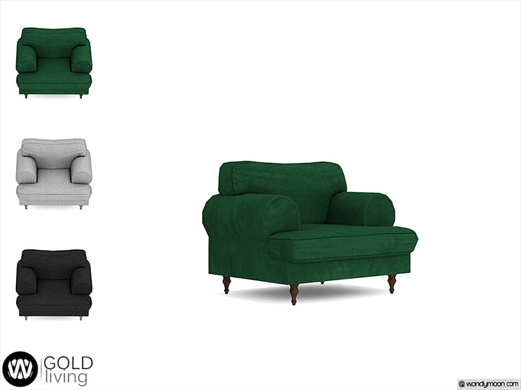 Gold Living Chair CC for Sims 4