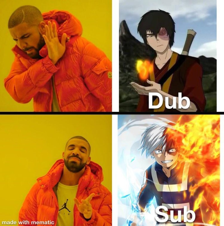 Dub vs Sub of My Hero Acaedmia - Drake meme