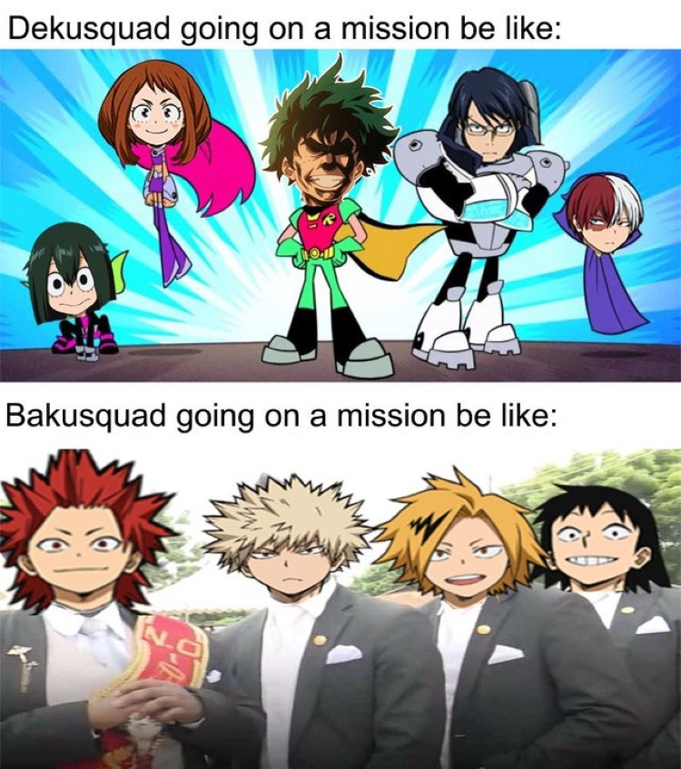 Dekusquad going on a mission, vs. Bakusquad going on a mission meme